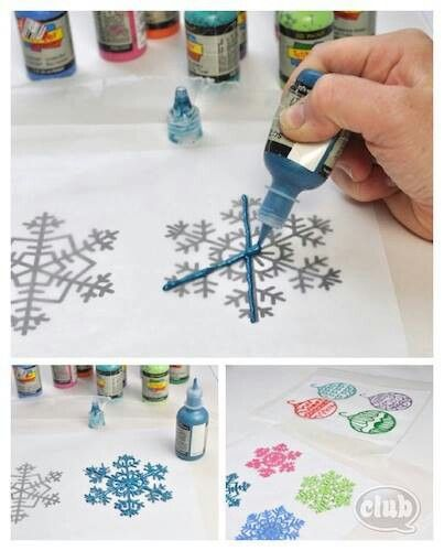 Puffy Paint Window Decorations -- Tape down stencil, tape wax paper over  top (so nothing moves around), trace stencil with puff paint onto wax paper,  ...