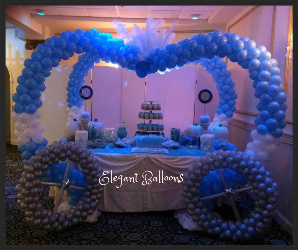 Sweet 16 cinderella carriage for 16th birthday decoration