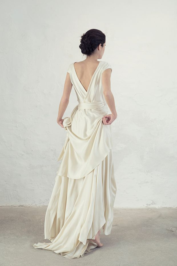 Cristal Wedding Dress From Cortana Dresses Bridal Collection Silk Satin Bias Cut Wrap With Ets And A Slight Tail Worn Tied At The Side