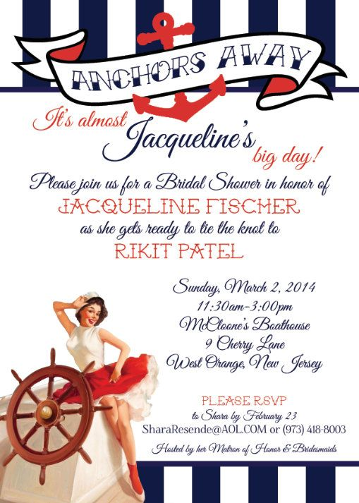 nautical bridal shower invitation conservative pin up navy and red on etsy 175