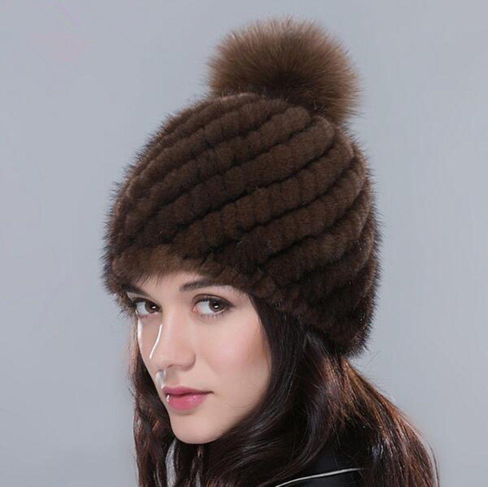 38f88865d1f7a Queenfur Real Knitted Mink Fur Hat Natural Fox Fur Poms Cap Women Warm  Beanies  HatsForWomenCaps