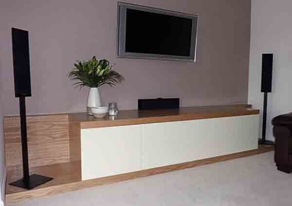 Oak & White gloss custom design AV cabinet | Bespoke AV