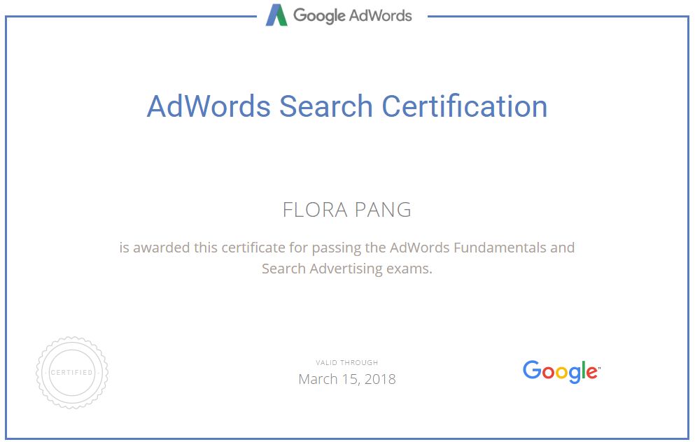 Updated My Google Adwords Search Certification On March 15