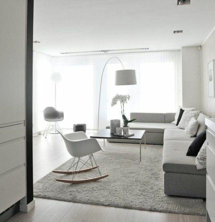 deco salon blanc avec quelques meubles gris clair salon lumineux amenagement salon simple et lgant