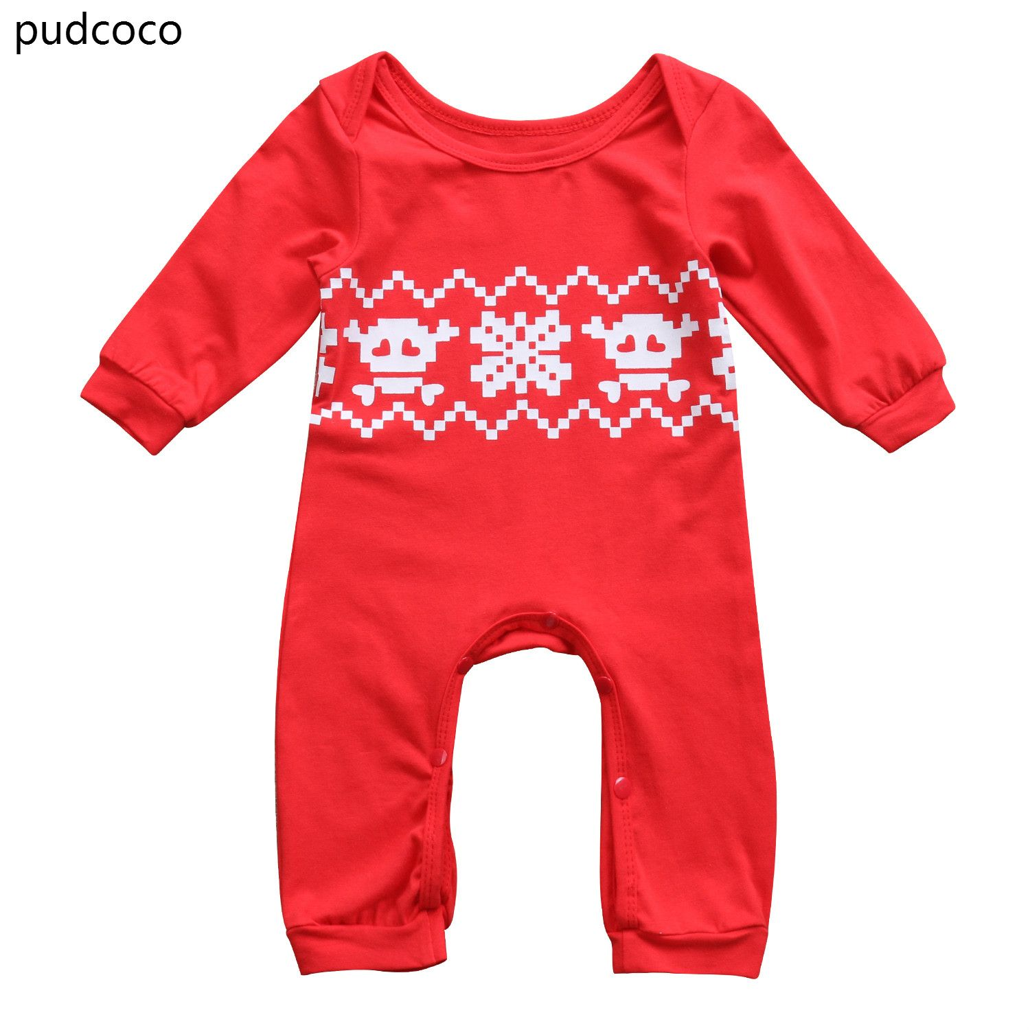 a938e06f9 Christmas Baby Boys Girl Red Rpmpers Infant Kids Long Sleeve Print ...