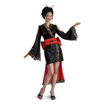 f39dd33ae Amazon.com: Sexy Adult Womens Costumes Japanese Asian Geisha Kimono Dress  Costume Theme Party Outfit: Clothing