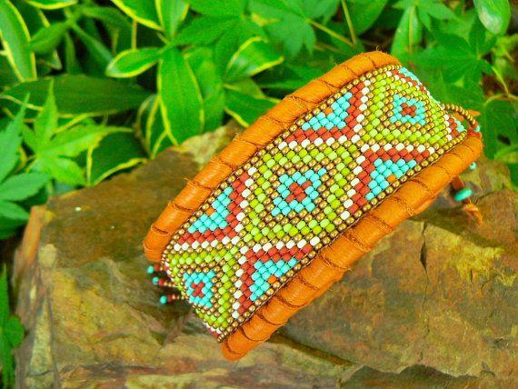 READY MADE Leather Cuff - Deerskin Leather Loom Beaded Cuff Bracelet  - Turquoise, Beaded, Fringe Tribal, Primitive, Boho, Unique -$72