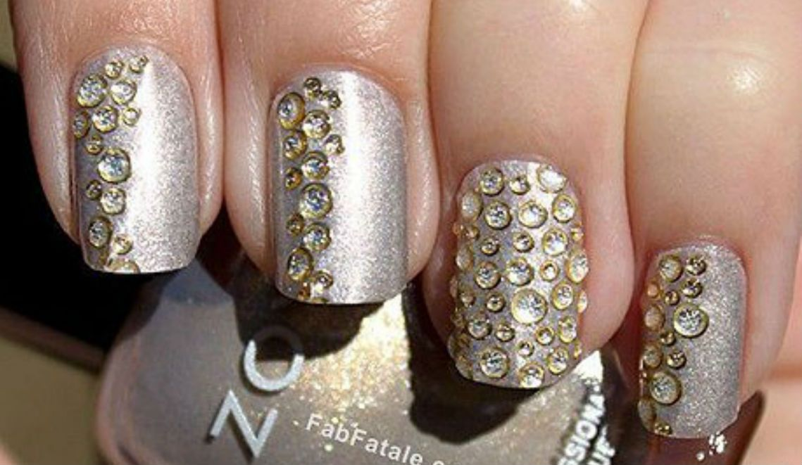 Silver With Gold Stone Nail Art