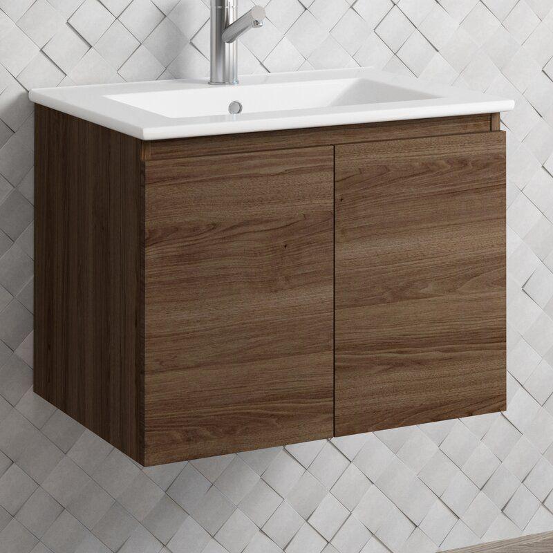 Jasso Malibu 23 Wall Mounted Single Bathroom Vanity Set Single Bathroom Vanity Bathroom Vanity Vanity Set