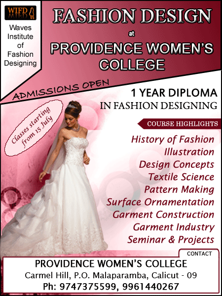 Diploma In Fashion Designing At Providence Women S College Kozhikode Diploma In Fashion Designing Fashion Designing Institute Fashion Design
