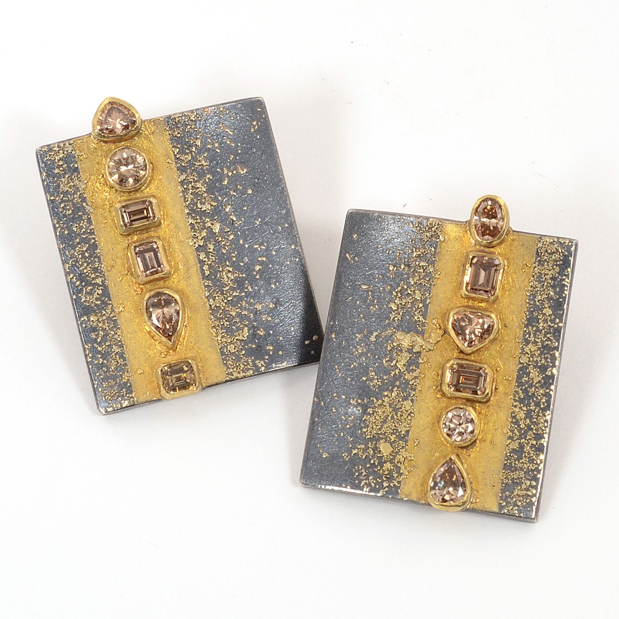 """Atelier Zobel Earrings at Patina Gallery.  MZ-1-0507 Earrings, Oxidized Sterling Silver, 22K and 24K gold, 4.92cts Fancy Brown Diamonds, 1"""" wide by 1 3/8"""" long. #artjewelry #Zobel"""