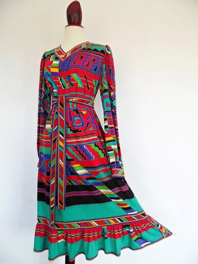 Leonard Paris Maya Queen Xl Divine Colors Silk Wool Jersey Dress Belt 70s Leonardofparis