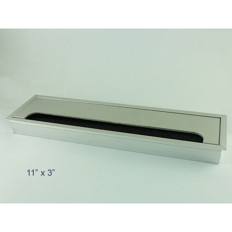 desk wire grommet rectangle aluminum table top hole cover silver ...