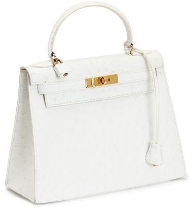 A White Ostrich Kelly Bag, Hermes, 1983