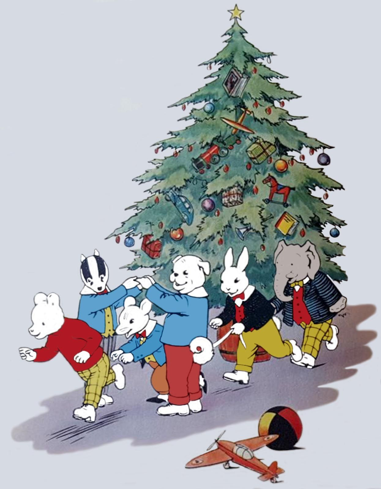Rupert Bear And Friends Play Around The Christmas Tree Christmas Art Christmas Bookmarks Bear Pictures