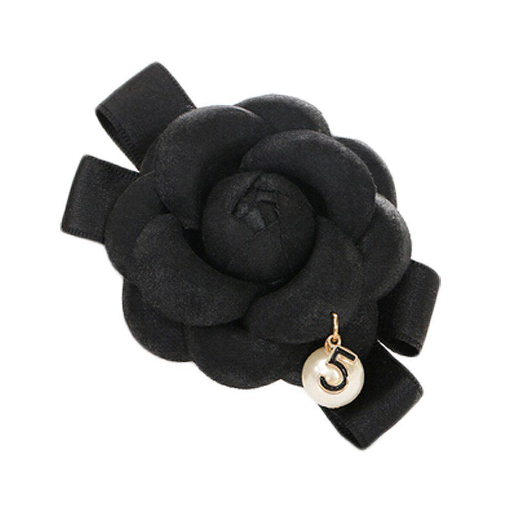 Pure black hair clips popular classical summer camellia barettes