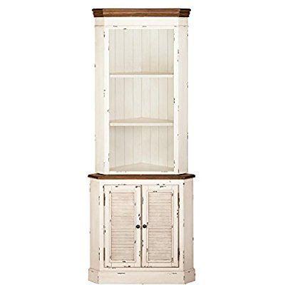 2teiliger #Vintage-Eck-Schrank im #Landhausstil - weiß - 76 x 184 cm - inspirationen küchen im landhausstil