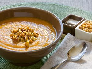 Roasted Root Vegetable Soup with Rosemary Walnuts