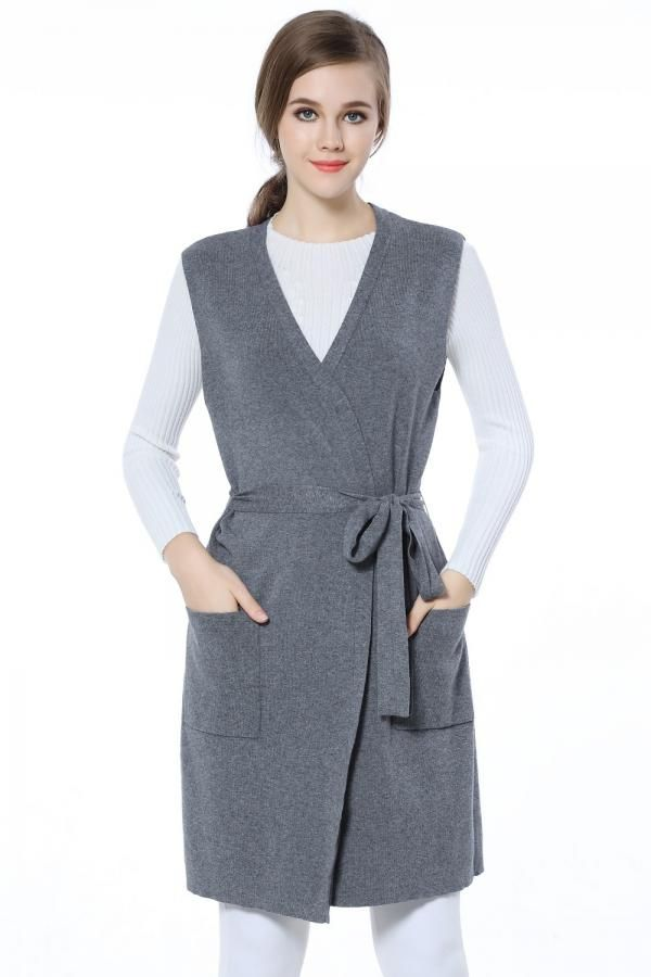 Knitbest Womens Open Front Long Knitted Long Cardigan Sweater Vest