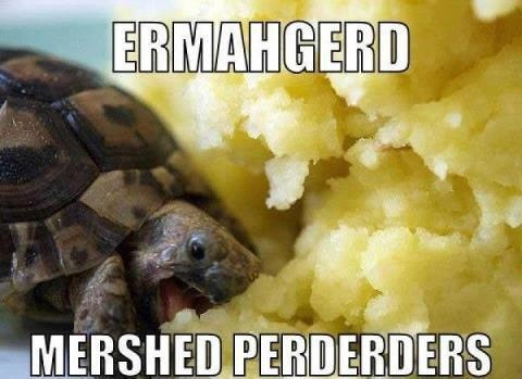 ermagerd! - HAAHA Oh i lived for mershed perderders until they made me fat! lol