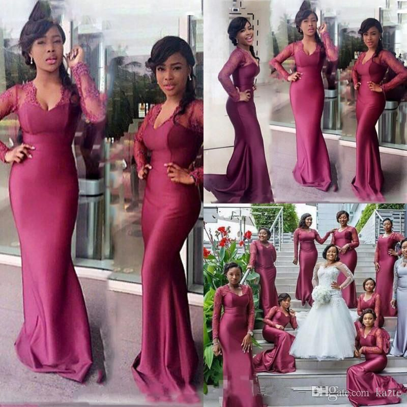3625ee1aec9 South African Long Bridesmaid Dresses For Wedding Lace Long Sleeve Mermaid  Maid Of Honor Gowns Floor