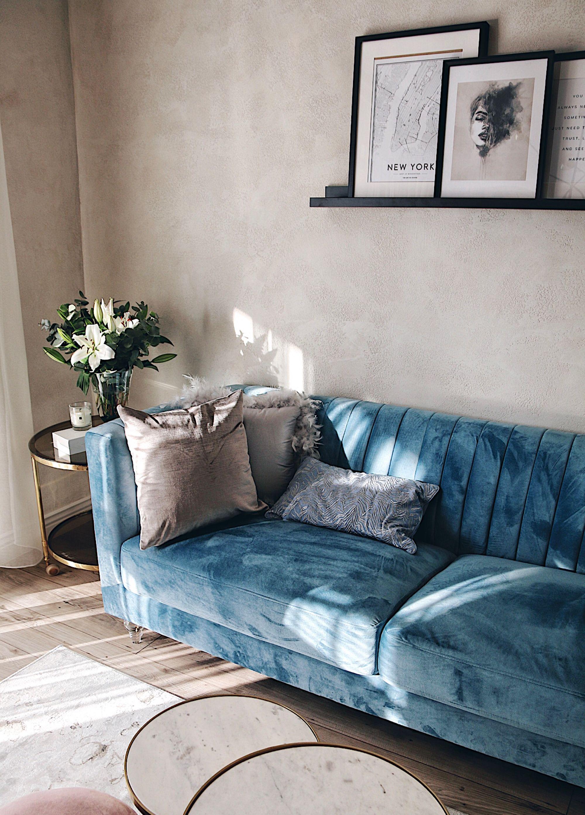3 Seater Velvet Fabric Sofa Blue Arvika Blue Sofas Living Room Light Blue Sofa Living Room Velvet Sofa Living Room