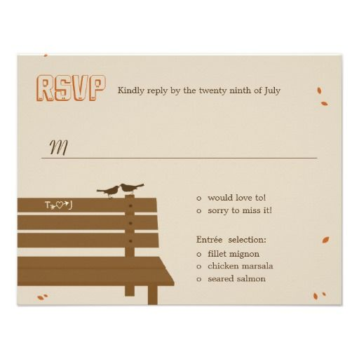 See MoreOur Bench Fall Wedding RSVP /Response Cards Personalized InvitesIn our offer link above you will see