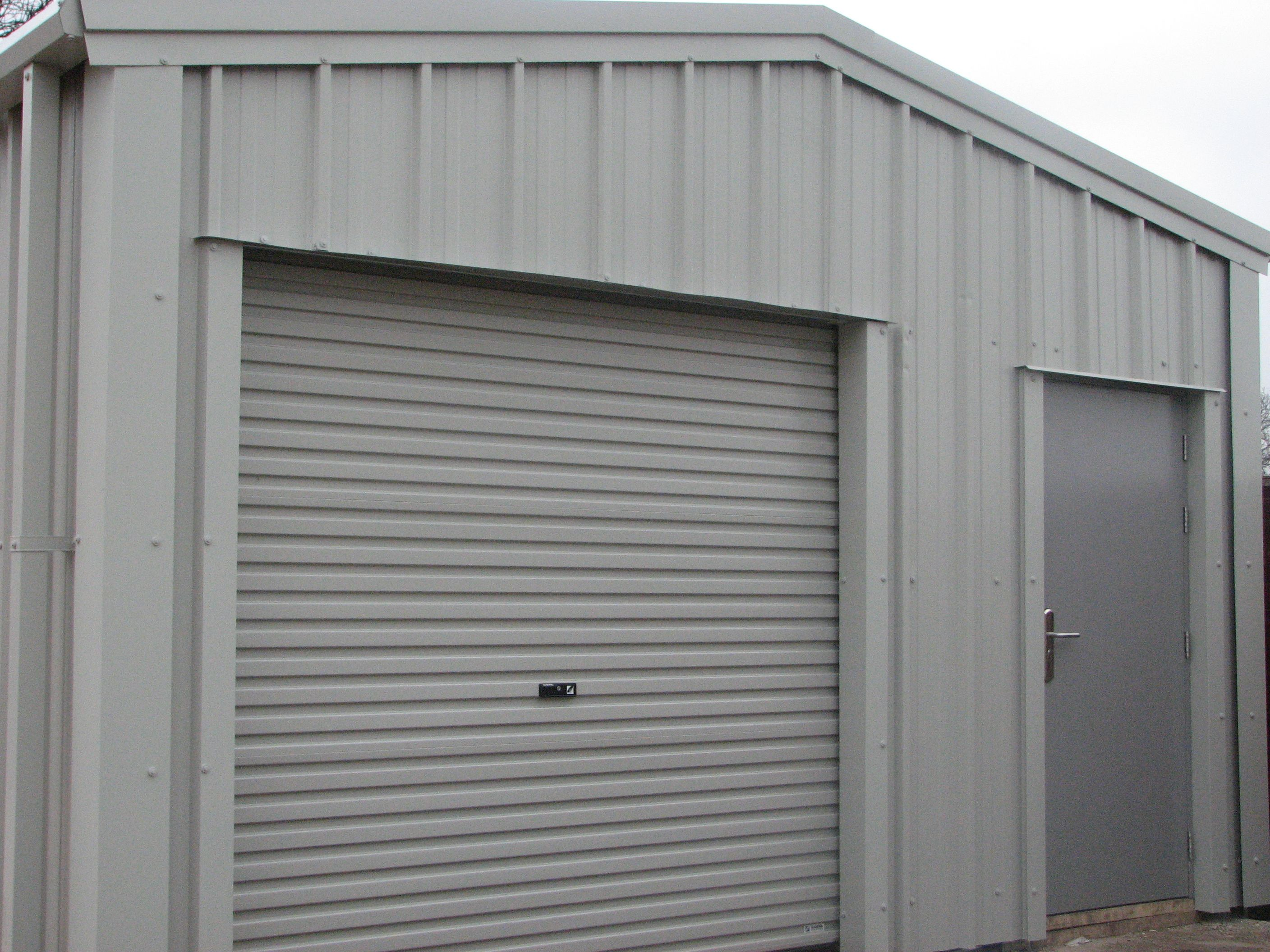 Roller Shutter Kitchen Doors Steel Warehouse Building With Personal Access Door In The Roller