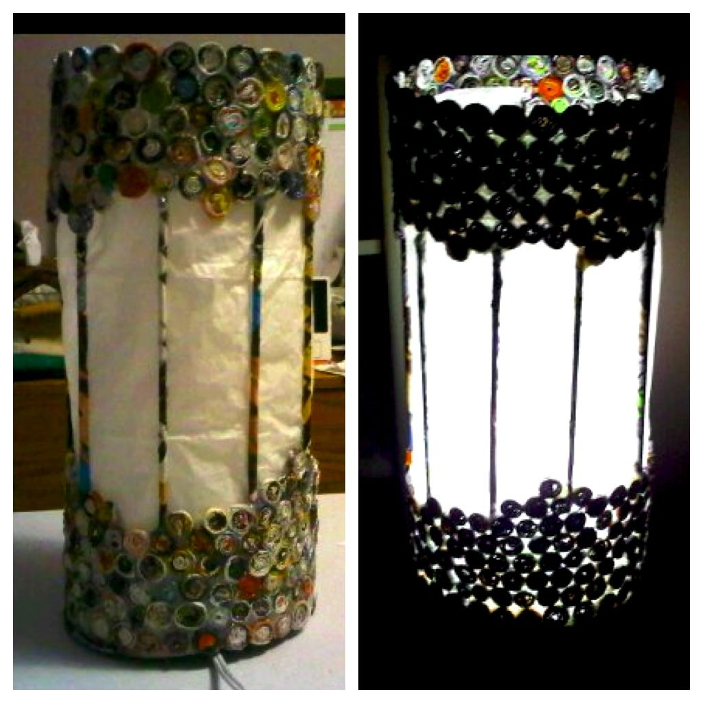 Used recycled magazines and tissue paper to create a lamp ...