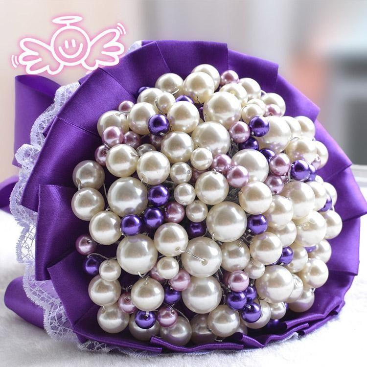 Elegant Purple Pearl bouquet Bride Bridal Crystal Wedding Bouquets Accessaries Party Decor Bride Lace Bouquet wedding favors 200 Pearl Beads