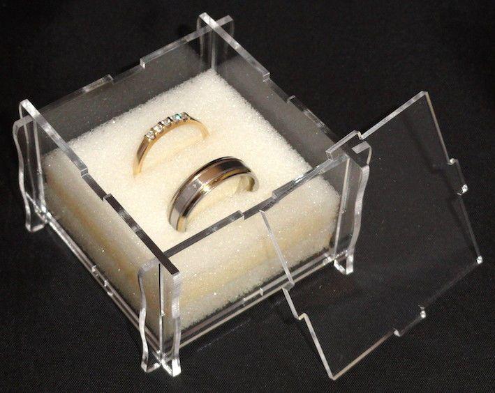 Personalised laser cut \ engraved acrylic wedding ring box Foam - r ckwand k che plexiglas
