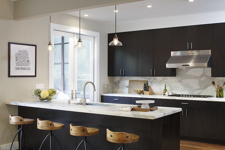 Espresso Cabinets Statuary Marble Greige Walls Kitchen Design
