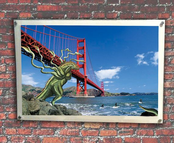 Green Zilla chasing local surfers below Golden by MonsterGallerySF. Limited signed Prints Available in various sizes from $13.