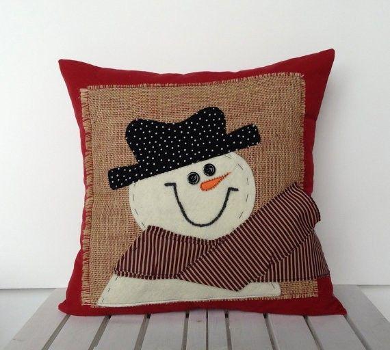 Sewing Decorative Bed Pillows : Snowman Christmas Pillow Cover #Christmas #pillow #Christmas www.loveitsomuch.com Pillows ...