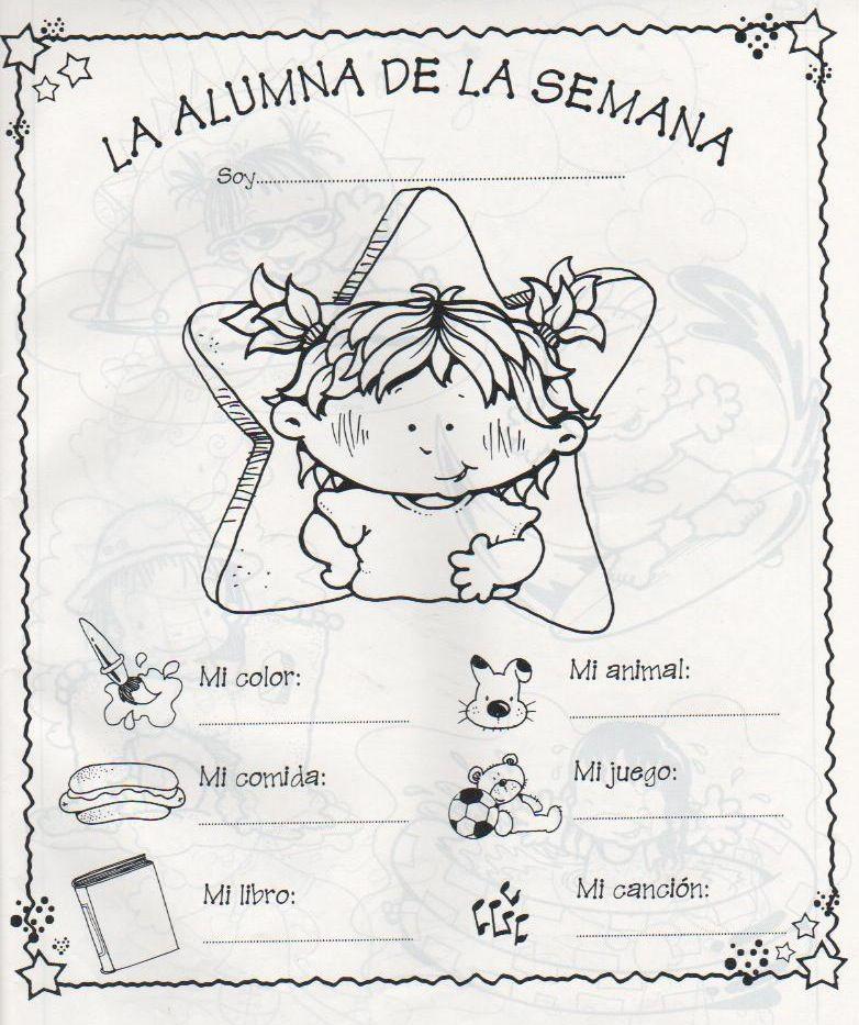 Protagonista de la semana spanish school and teacher for Actividades para el primer dia de clases en el jardin