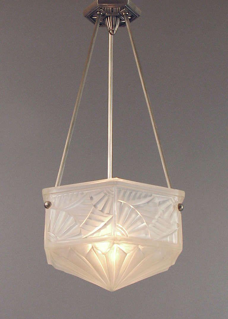 Hexagonal Degué Lighting Bowl/Pendant with Spectacular Art Deco Design Motifs