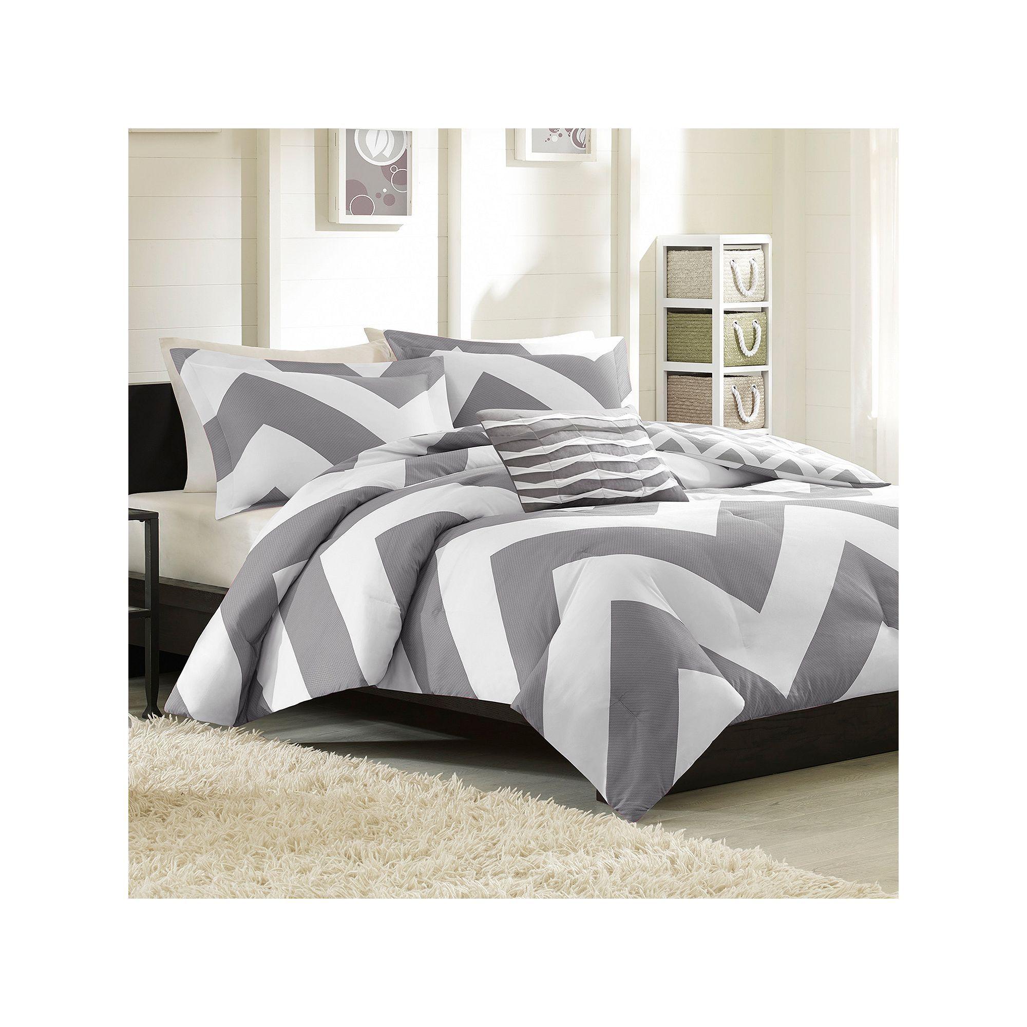 Mi Zone Aries Chevron Reversible Comforter Set Grey Products