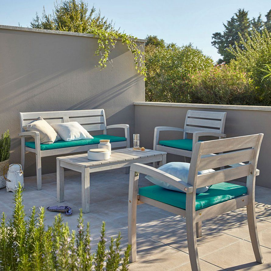 un salon de jardin en bois naturel leroy merlin outdoor. Black Bedroom Furniture Sets. Home Design Ideas