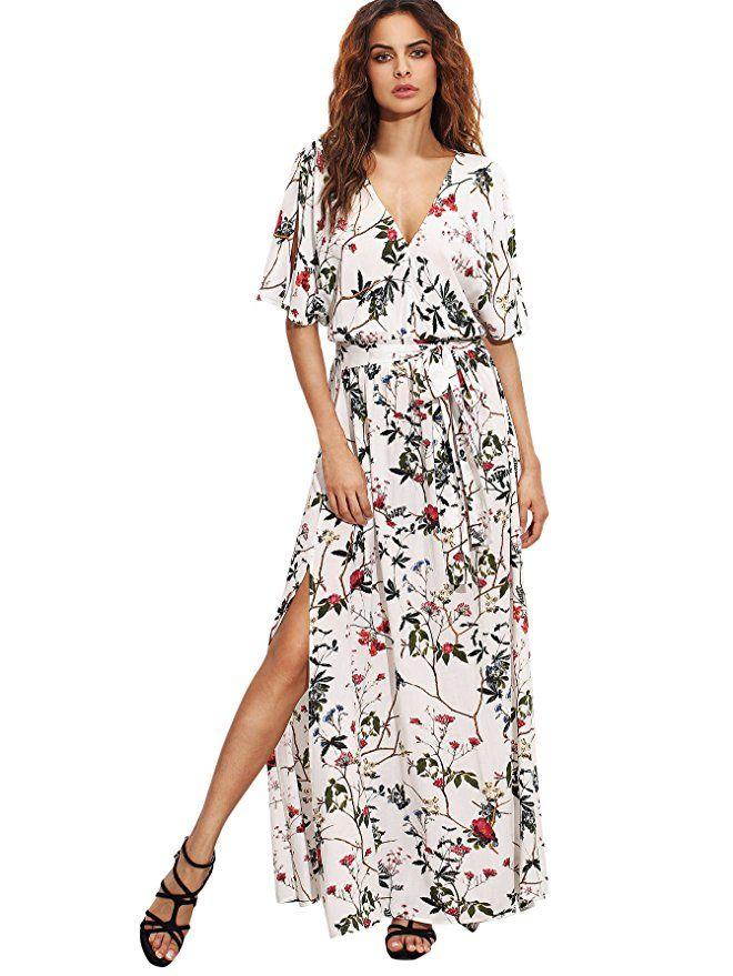 088ac022262 Milumia Women s Boho Split Tie-Waist Vintage Print Maxi Dress at Amazon  Women s Clothing store