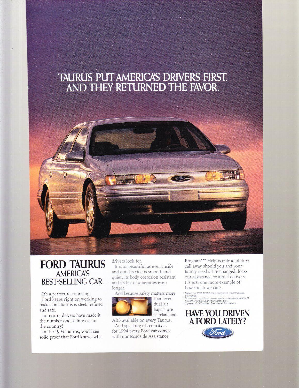 Ford Taurus Vintage Magazine Advertisement Vintage Magazine