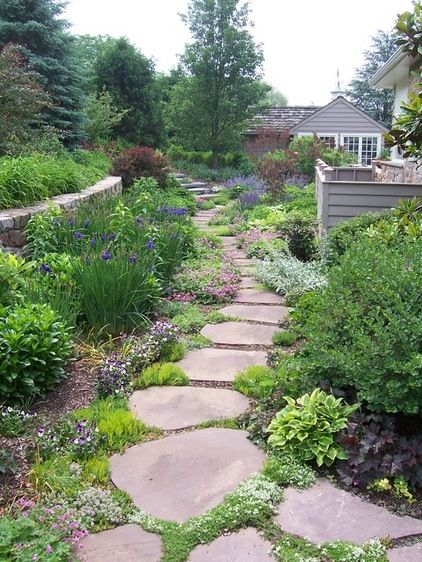 Stone Garden Path Ideas another cool diy garden path idea is to make use of pavers these are usually cut stone in the shape of rectangular bricks and lined up and placed tightly Side Yard Ideas Less Grass More Plantings Stone Path With Sedum Or Thyme