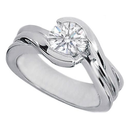 0973a5aa8 Swirl Solitaire Round Diamond Engagement Ring Semi-Bezel set in 14K White  Gold