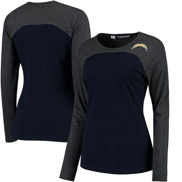 Los Angeles Chargers Cutter   Buck Women s Compel Colorblock Long Sleeve T- Shirt - Navy 7659e99c1