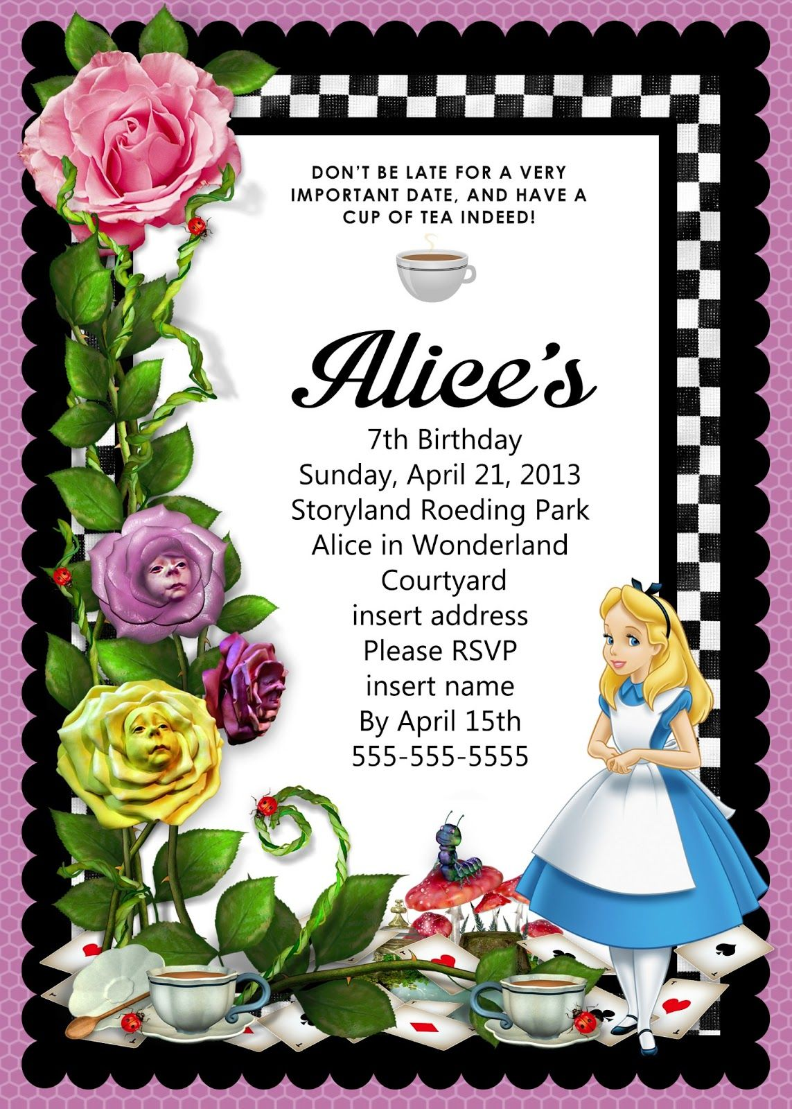 Image result for free alice in wonderland party invitations template ...