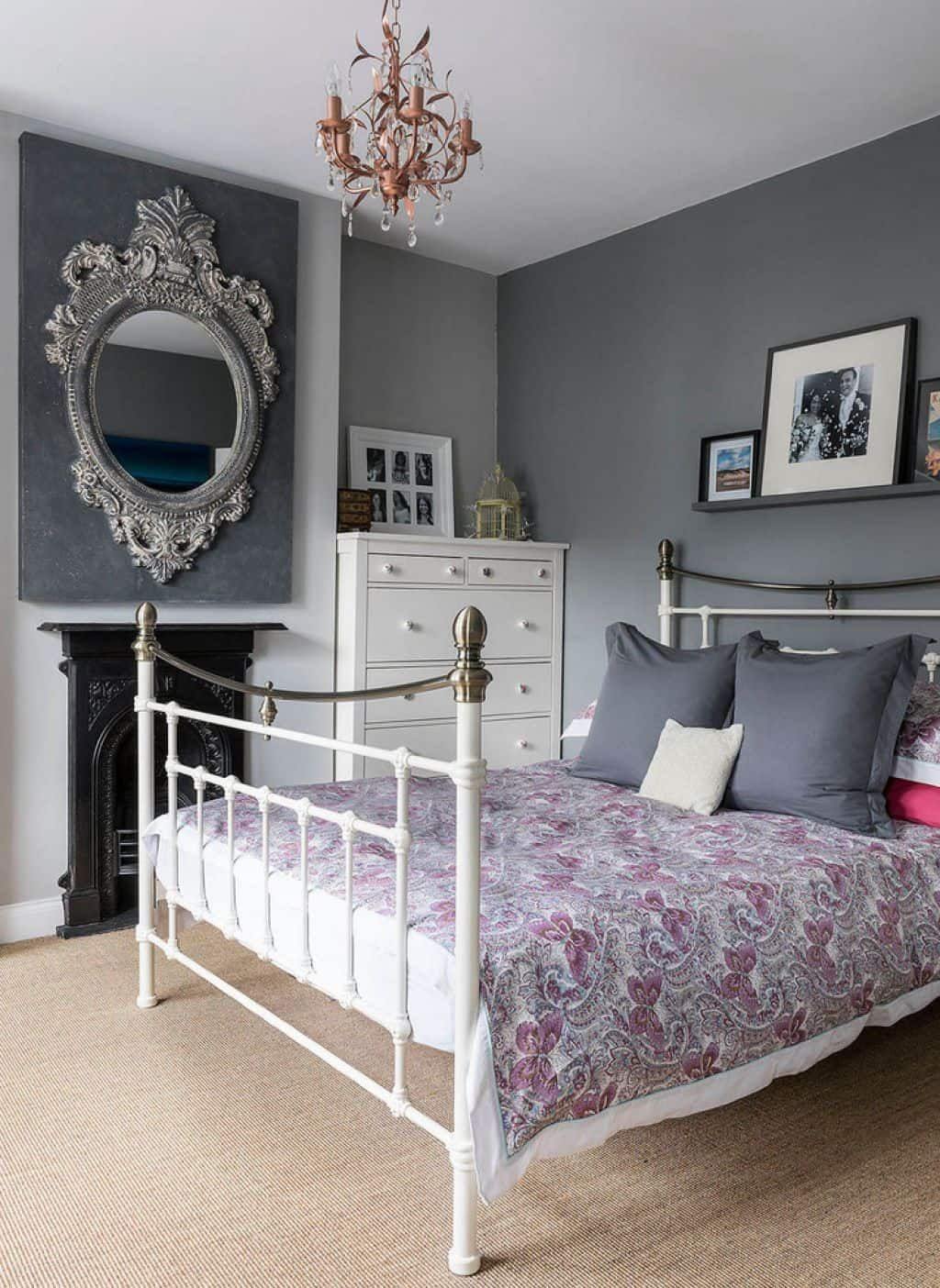 Decorating Ideas For Grey Walls White Metal Bed Frame White