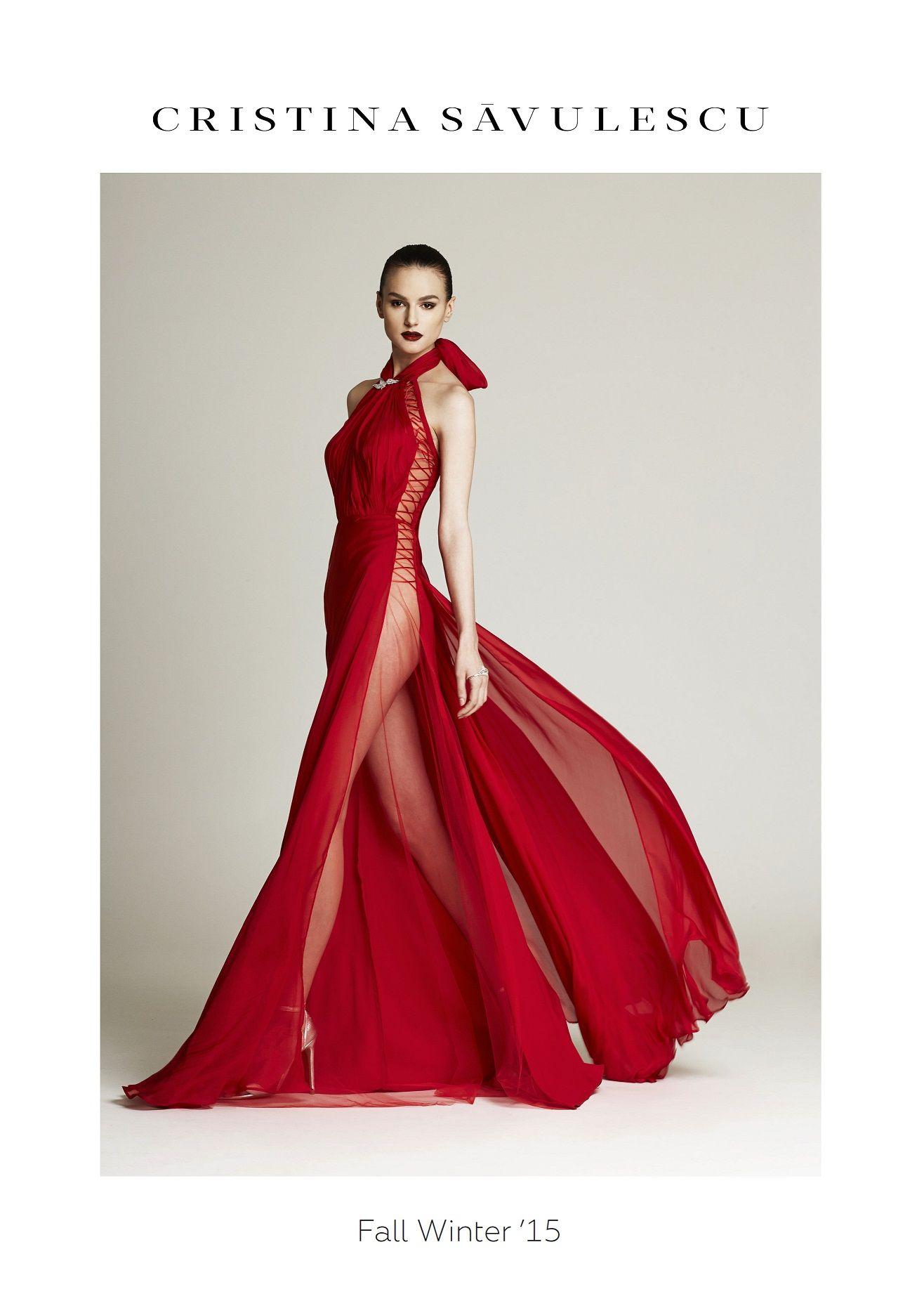 Cristina savulescu fallwinter red dress pinterest fall