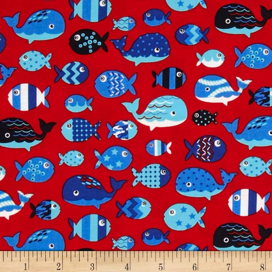 Barnegat Bay Whales U0026 Fish Red From Designed By Laura Berringer For Marcus  Fabrics, This Cotton Print Fabric Is Perfect For Quilting, Apparel And Home  Decor ...