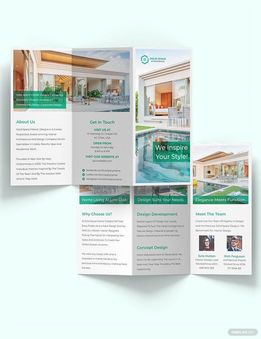 A3 Landscape Interior Design Tri Fold Brochure Template Word Doc Psd Indesign Apple Mac Pages Illustrator Publisher Trifold Brochure Trifold Brochure Template Brochure Design Template