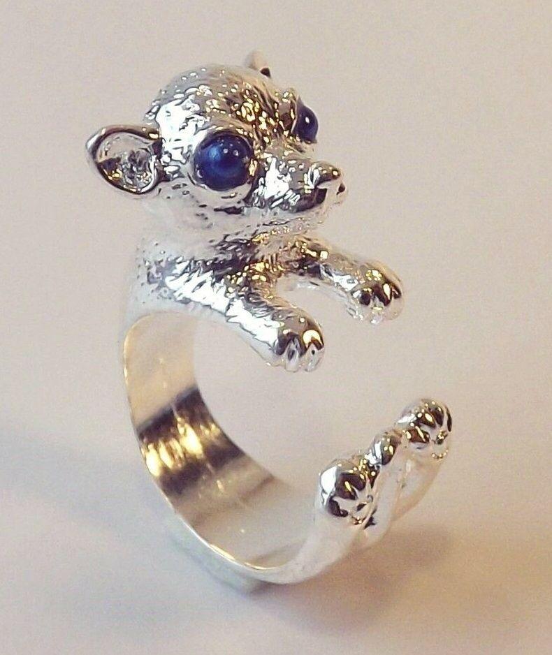 Cute Funny Silver Adjustable Blue Eye Chihuahua Dog Animal Wrap Ring Nickel Free