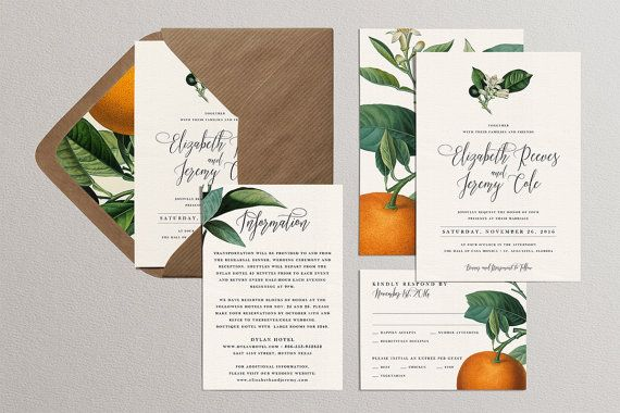 Citrus Wedding Invitation Template Set Printable Orange